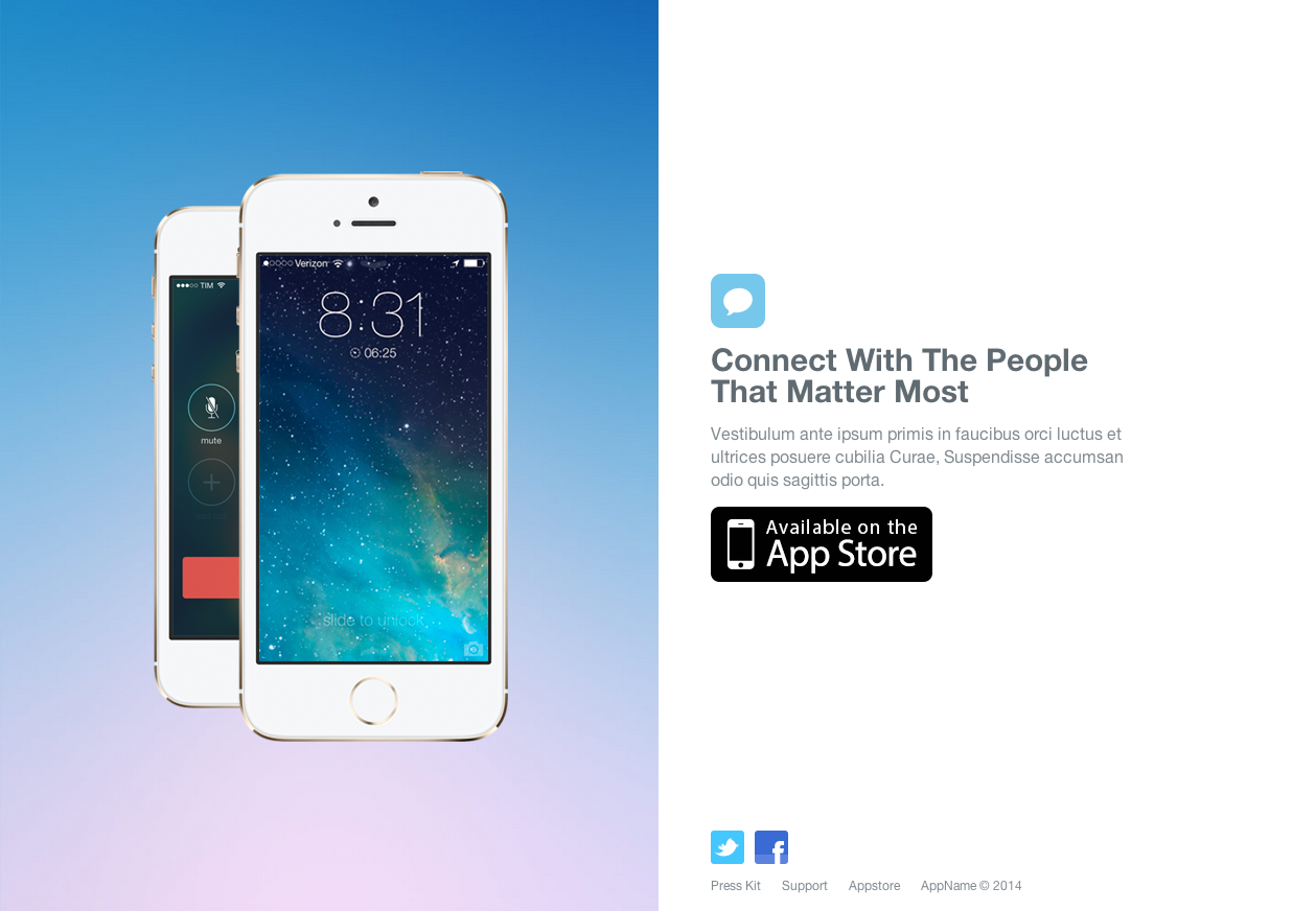 Simple iphone app website template website templates on for Iphone app logo template