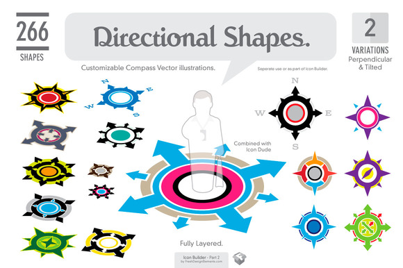 Icon Builder. 266 Directional Shapes - Illustrations