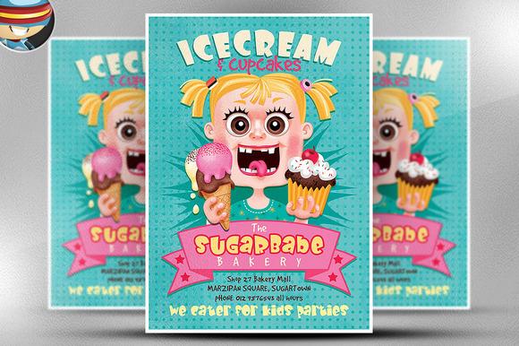 Ice Cream Template Ice Cream Cup Cakes Flyer