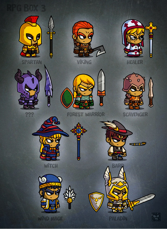 Game Design Character Classes : Rpg cartoon characters d game art illustrations on