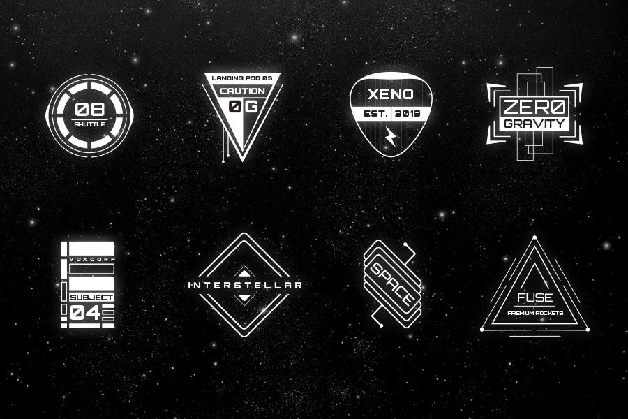 16 sci fi badges objects on creative market. Black Bedroom Furniture Sets. Home Design Ideas