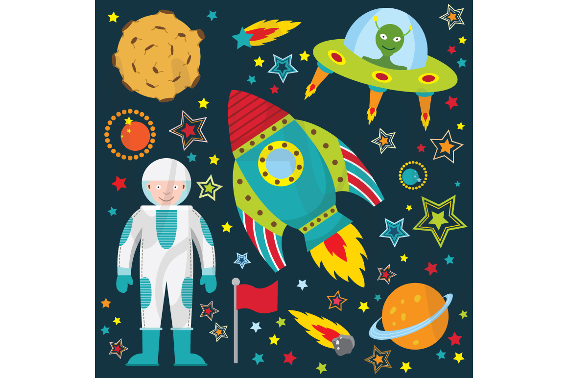 Outer space clip art illustrations on creative market for Outer space urban design