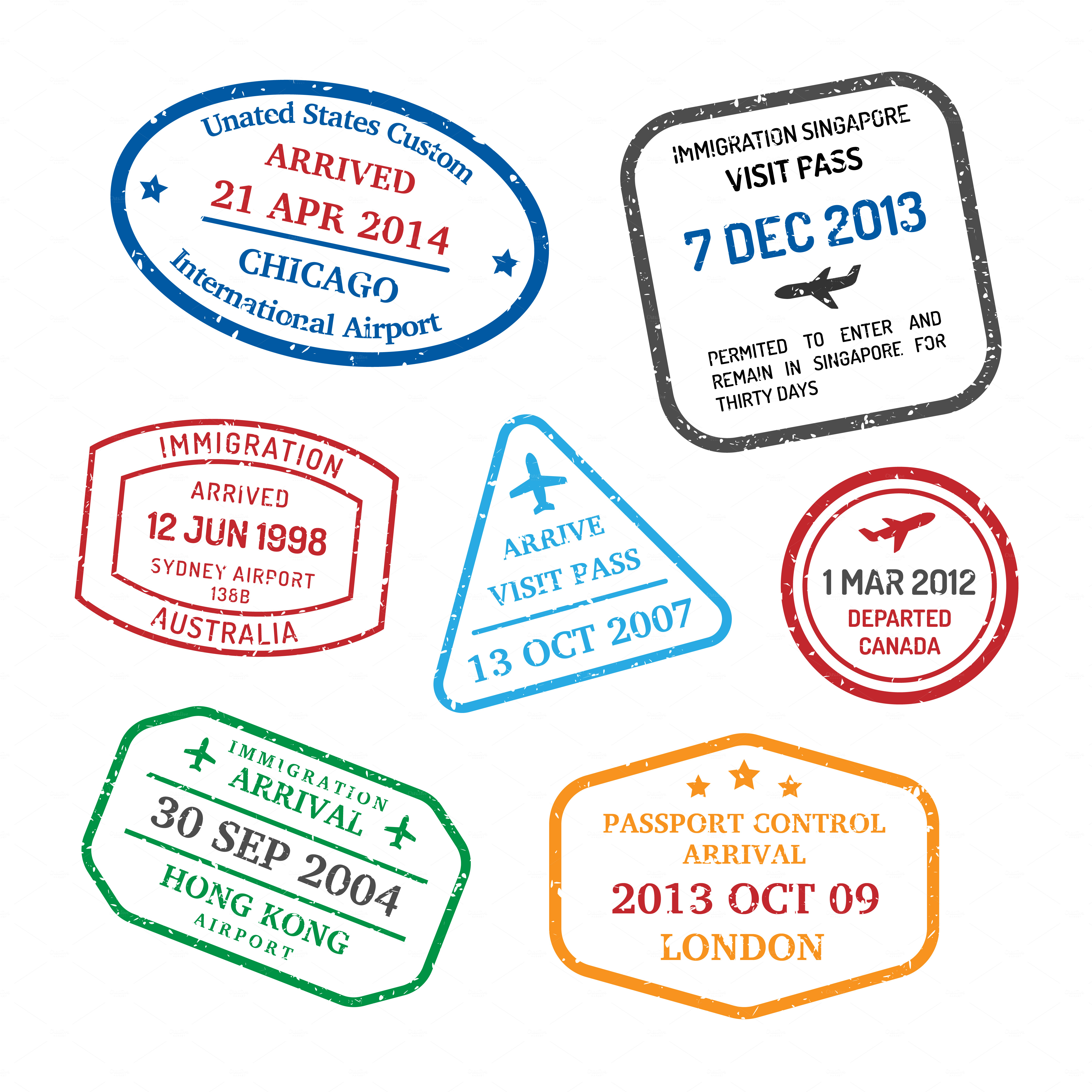 Travel visa stamps web elements on creative market for Product design companies london