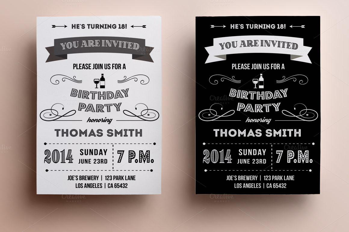 40th Birthday Ideas: Retro Birthday Invitation Templates Free