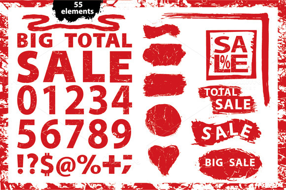 Sale.Grunge Stamps. numbers,marks - Objects