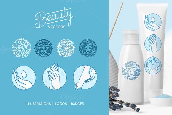 Beauty Set Vector Logos And Badges