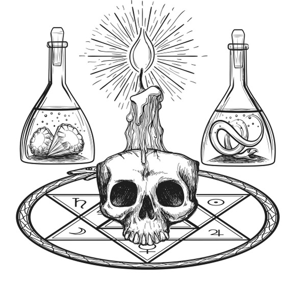 Skull With Candle Alchemy Elements