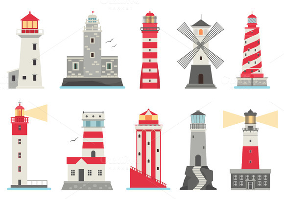 Vector Set Cartoon Flat Lighthouses