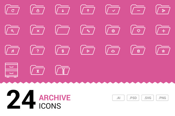Archive Vector Line Icons