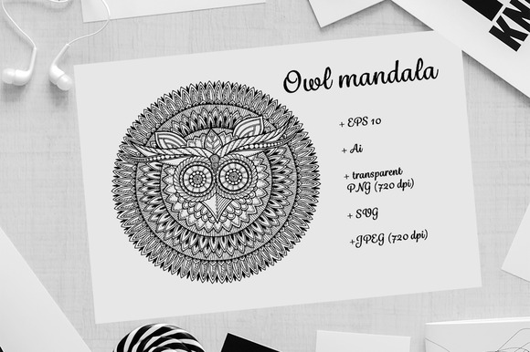 Graphic Mandala Owl