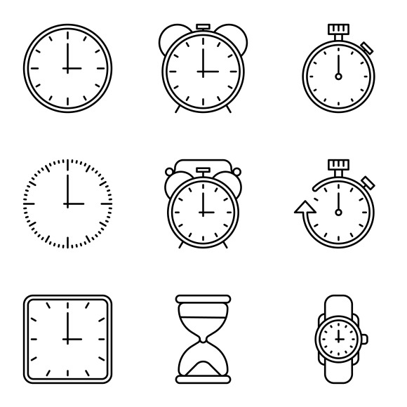 Time And Clock Vector Line Icons