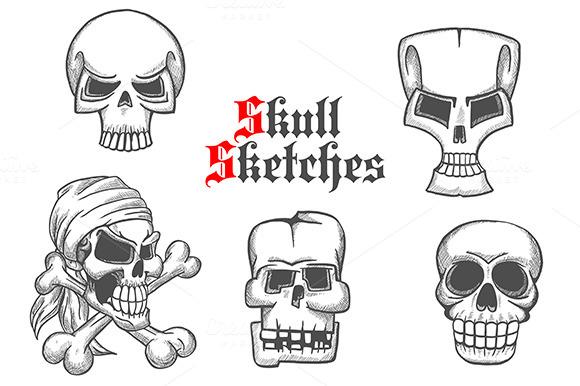 Skeleton Skulls Pencil Sketches