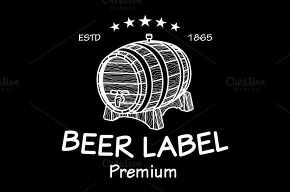 Vintage Logo Barrel Beer Label