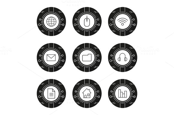 Cyber Technology 9 Icons Vector