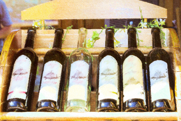 Grape Wine Of Local Production In Bottles