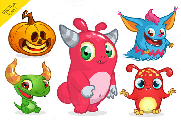 Halloween monsters. Vector pack - Illustrations