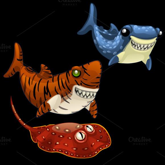 Cartoon Set Of Predatory Fishes