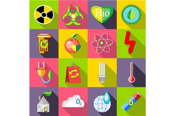 Ecology Icons Set Flat Style