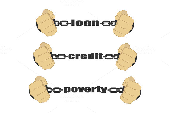Man Fists In Strained Chains Vector