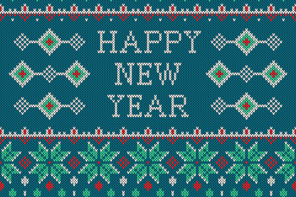 New Year Ornament On Knitted Texture