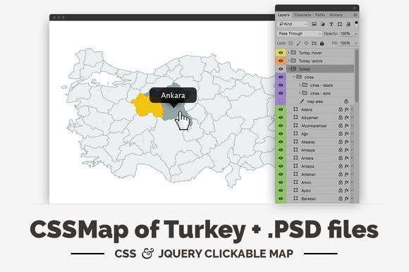 Turkey CSS JQuery Clickable Map