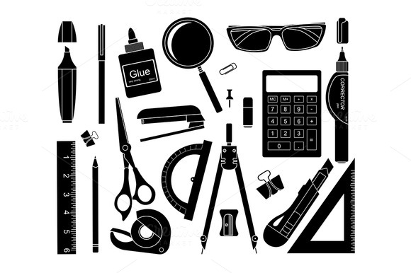 Set Of Stationery Tools Vector