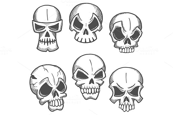 Skeleton Skulls Sketches Icons