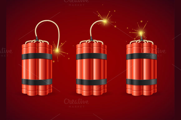 Detonate Dynamite Bomb Set Vector