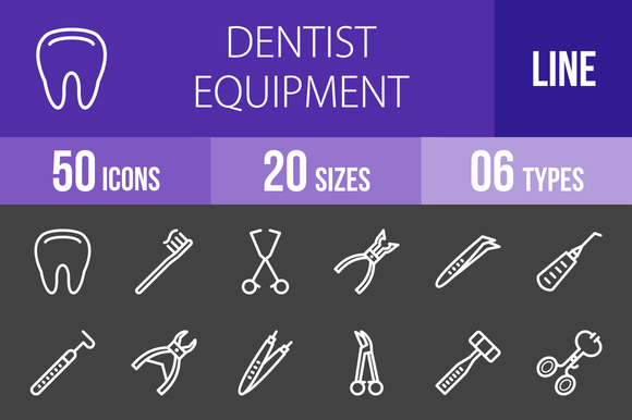 50 Dentist Line Inverted Icons