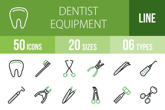 50 Dentist Line Green Black Icons