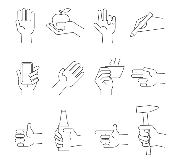 Hand Icons With Tools Objects