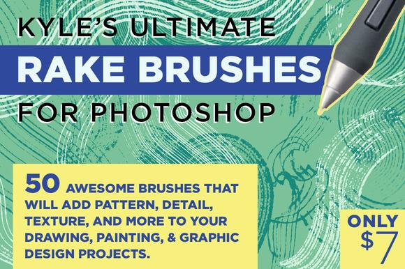 creativemarket 919689 - Kyle's Rake Brushes for Photoshop
