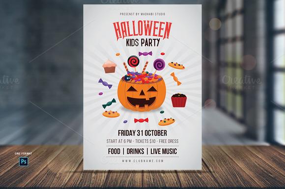 halloween kids party flyer template flyer templates on creative market. Black Bedroom Furniture Sets. Home Design Ideas