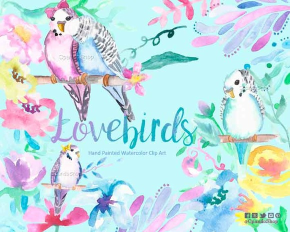 Watercolour Clip Art Lovebirds