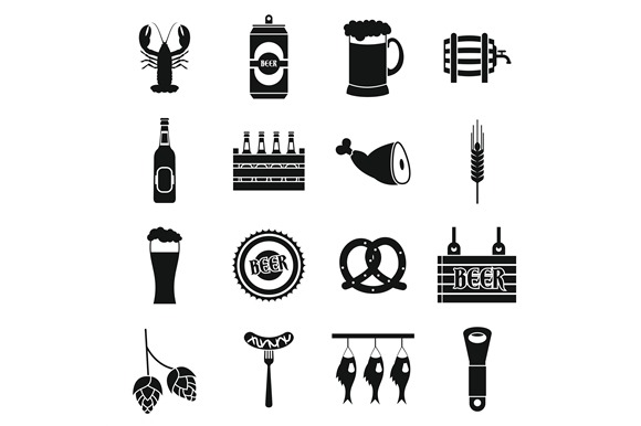 Beer Icons Set Simple Style