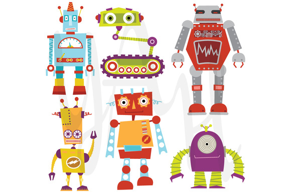 Cute Robot Designs Cute Robot Set Illustrations