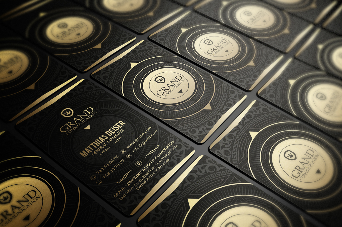 Gold And Black Business Card Business Card Templates on
