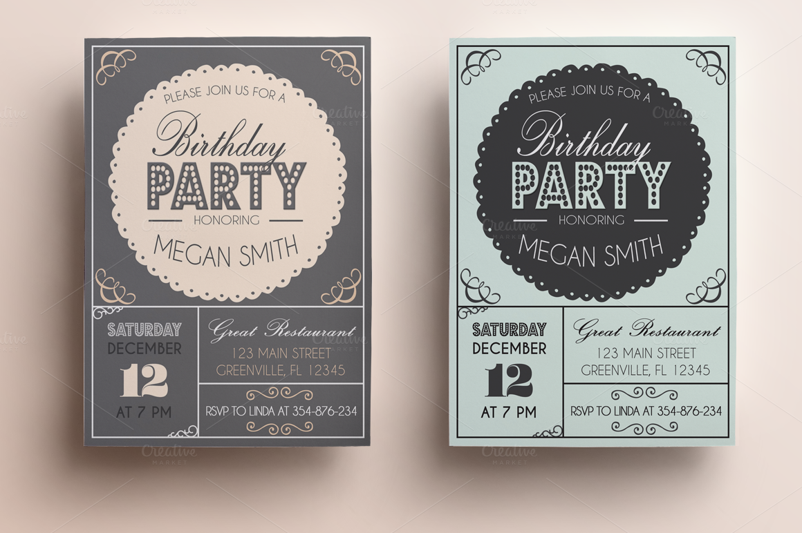 bachelorette birthday invitation invitation templates on creative market. Black Bedroom Furniture Sets. Home Design Ideas