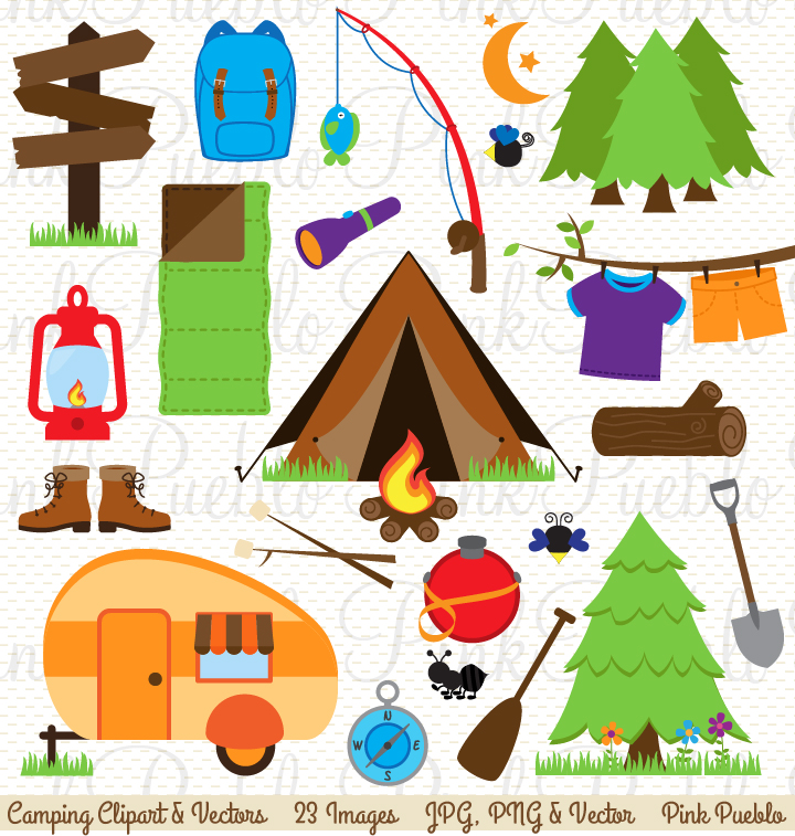 Camping Clipart and Vectors ~ Illustrations on Creative Market
