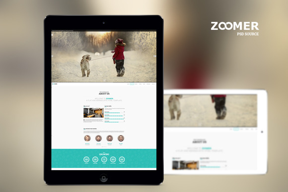 zoomer onepage psd template website templates on creative market. Black Bedroom Furniture Sets. Home Design Ideas