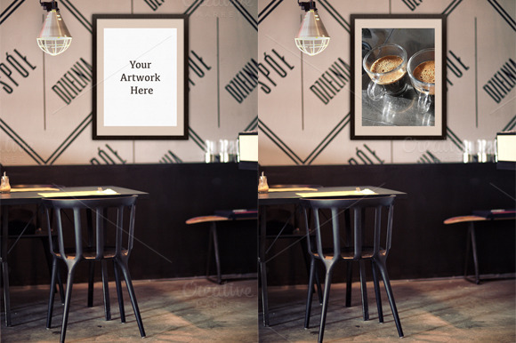 Mockup-Poster Frame at Restaurant - Product Mockups - 1