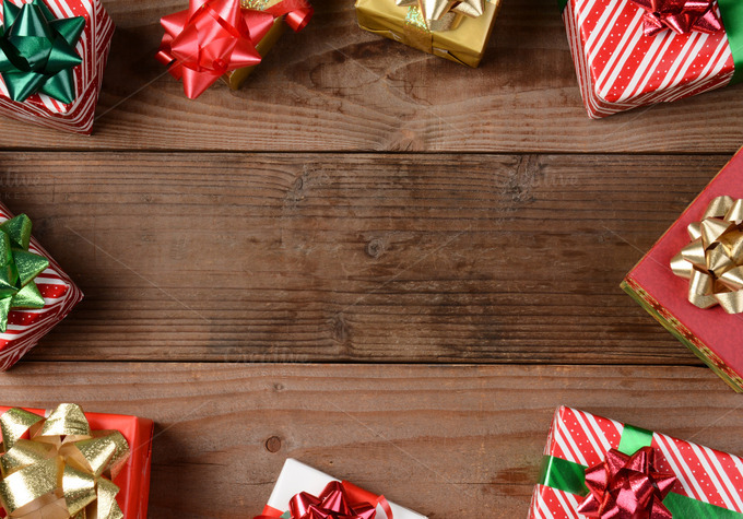 Rustic wood floor christmas presents holiday photos on
