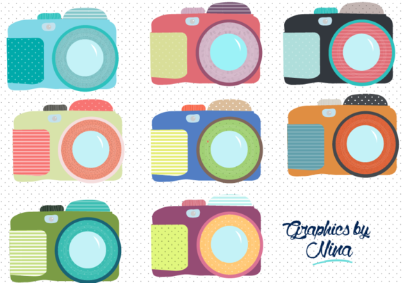Cute Colorful Cameras Clipart Illustrations On Creative