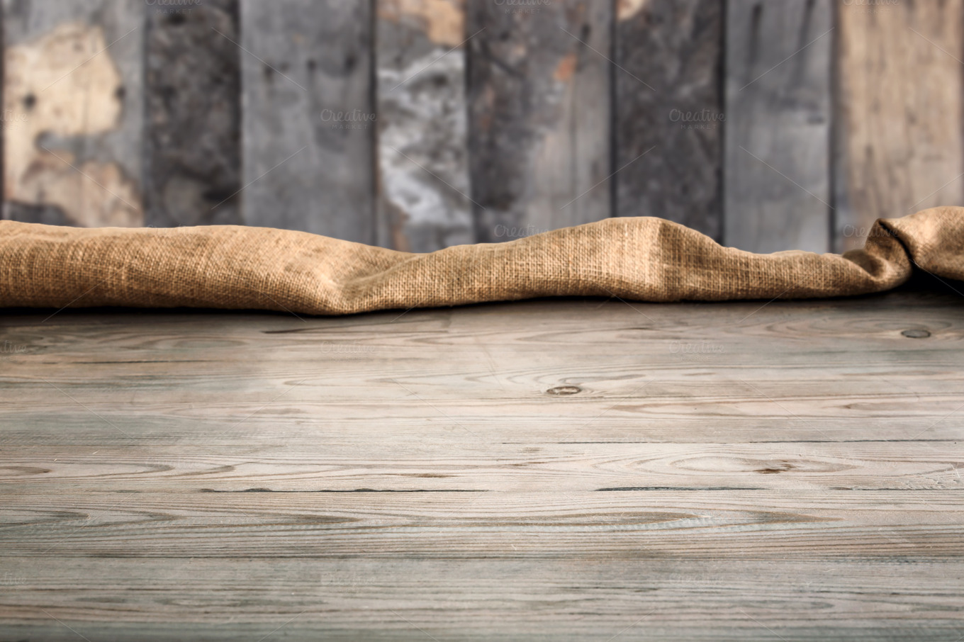 Empty wooden table background and te abstract photos on for Table background