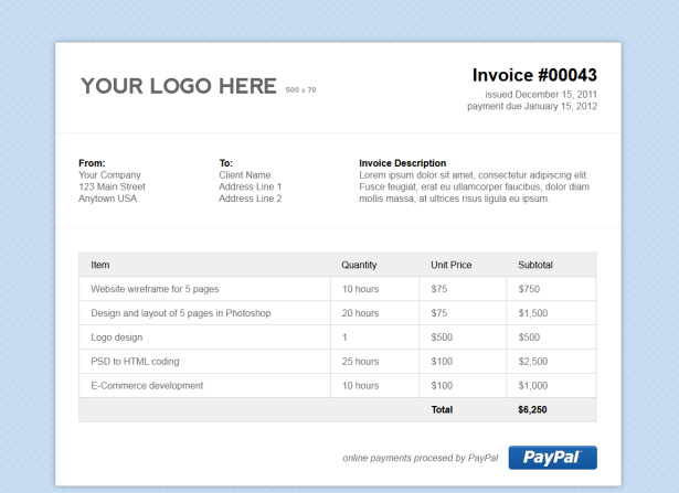 Simple Html Invoice Template Stationery Templates On