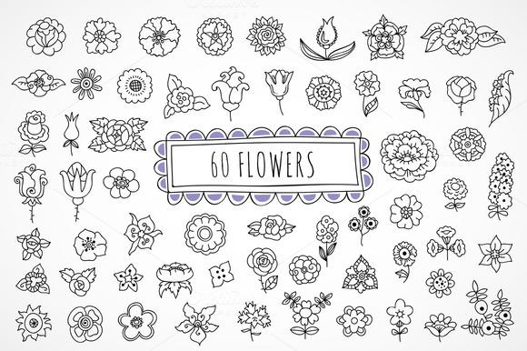 60 Hand Drawn Flowers Illustrations On Creative Market