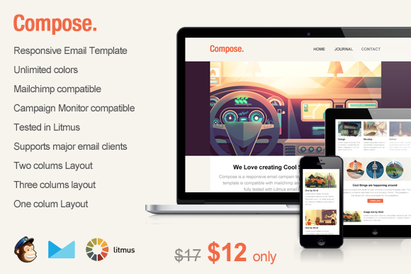 compose email template - creativemarket compose responsive email template