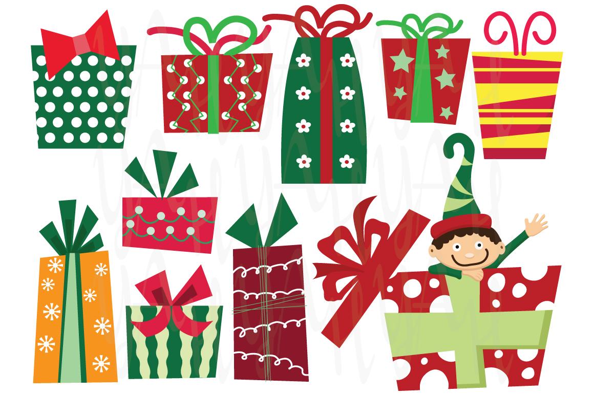 Christmas presents clip art illustrations on creative market
