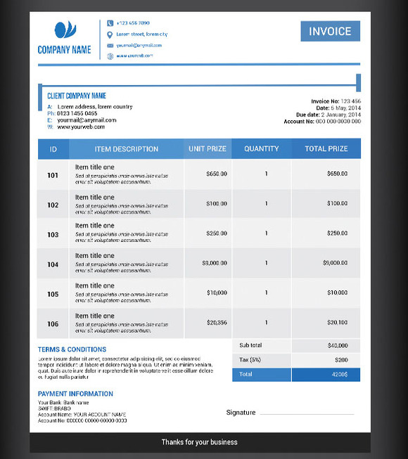 bootstrap invoice template free download – robinhobbs, Invoice examples
