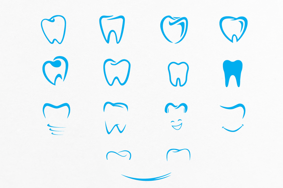 Tooth Shapes For Dental Care Logos